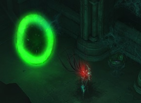 Behind the green portal...