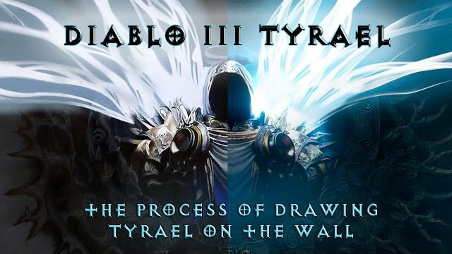 Diablo 3 ??????? ????????? ??????? ?? ????? / The process of drawing Tyrael on the wall