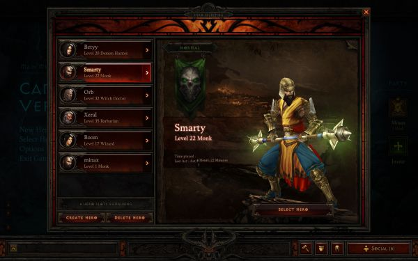 diablo 3 maximum character slots