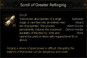 Scroll of Reforging removed