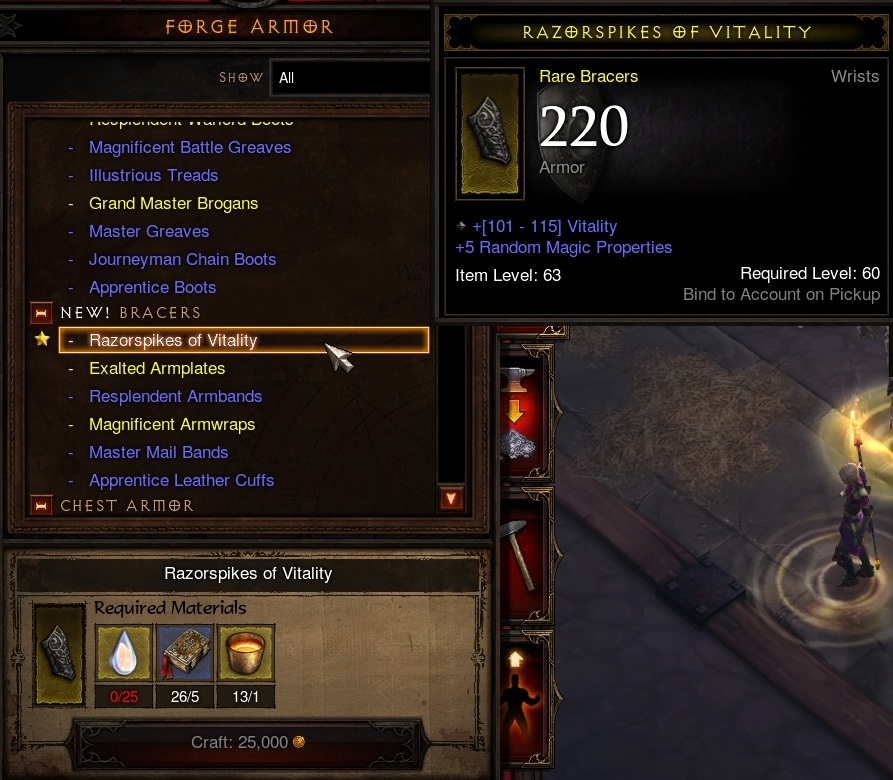 New Bracers crafting recipe.