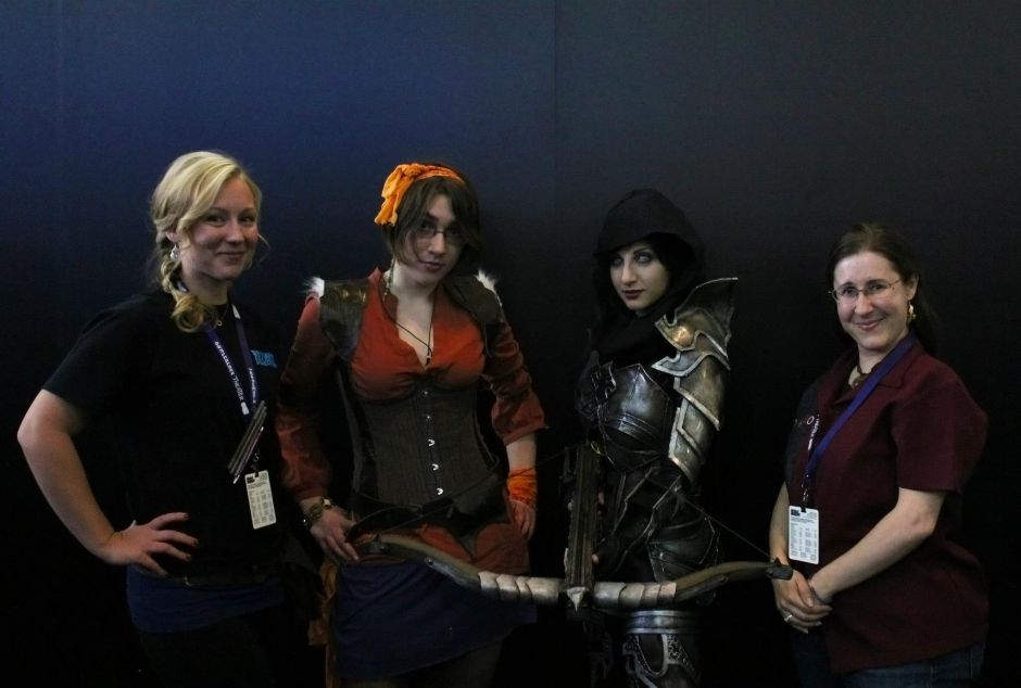CM Lylirra, Leah, female Demon Hunter, and CM Vaeflare, at PAX East 2013.