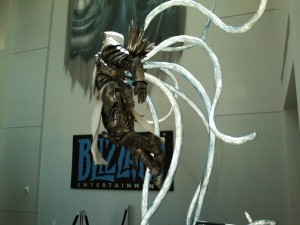 Tyrael statue with glowing wings.