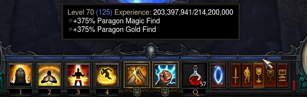 Paragon 125 to 126 = 214m exp. Equivalent to going from P86 to P87 in D3. The Passive MF/EXP display is an artifact/bug.