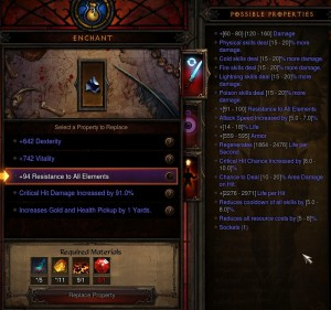 Legendary amulet enchanting options.