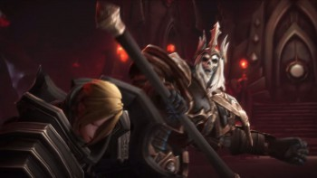 Leoric batters the Crusader.