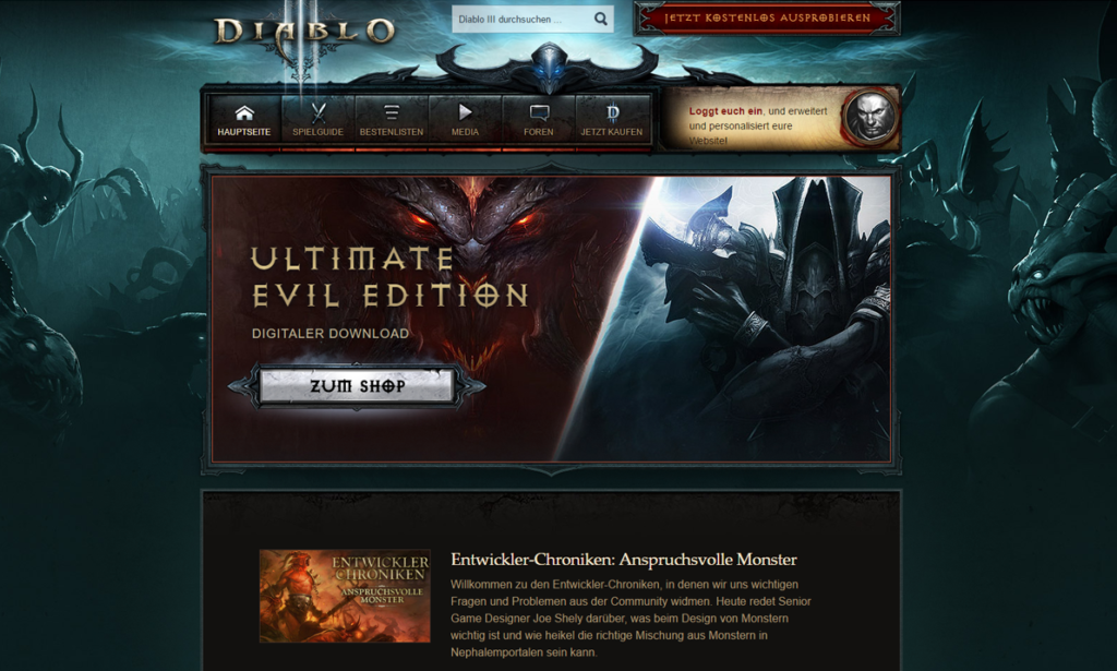 Official Diablo 3 Site Stripped Back